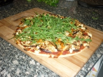 Eggplant, Blue Cheese & Rocket Pizza